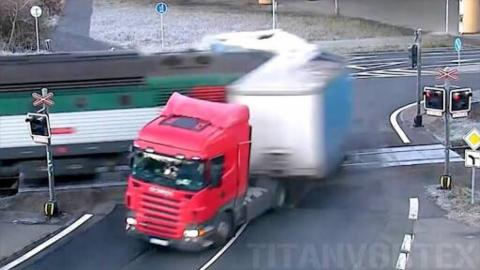 SHOCKING: Train Pulverizes Truck At A Railroad Crossing