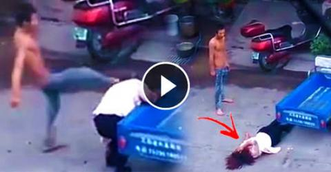 Violent Husband Caught VICIOUSLY BEATING His Wife In Public