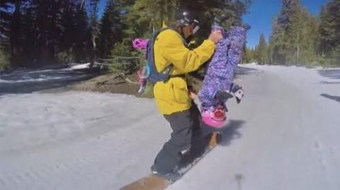Dad Does CRAZY Snowboarding Tricks With 3-year Old Daughter