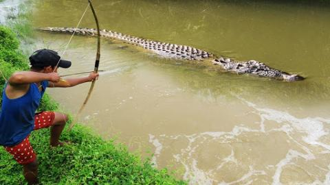 Amazing!!! Brave Boy Catches Crocodile Using Bow In Swamp