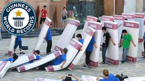 """Guinness World Record set for  """"Largest Human Dominoes"""""""